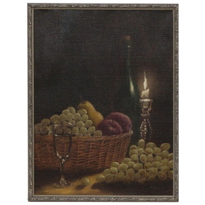 Still Life Oil Painting of Fruit, Wine and Candle