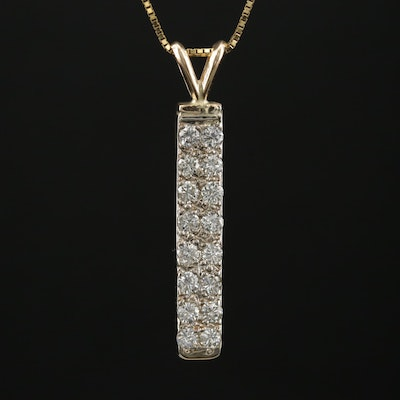 14K Diamond Bar Pendant Necklace
