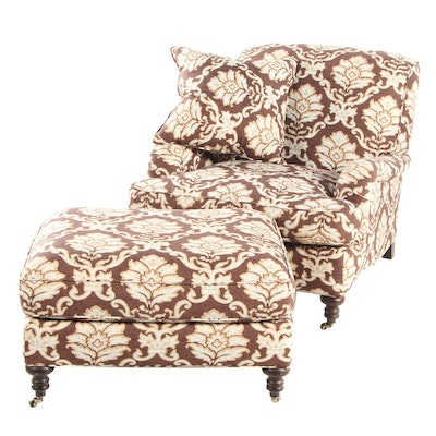 Williams-Sonoma Upholstered Lounge Chair with Ottoman, Late 20th Century