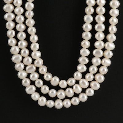 Triple Strand Cultured Pearl Necklace With 14K Clasp