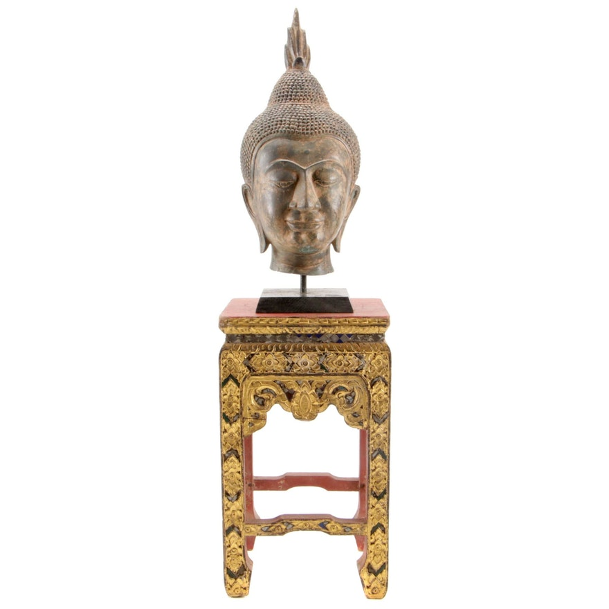 Thai Chiang Saen Style Buddha Head with Hand Carved Gilt Pedestal, 20th Century