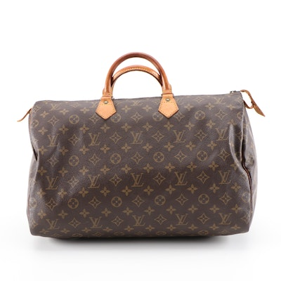 Louis Vuitton Speedy 40 Handbag in Monogram Canvas and Vachetta Leather