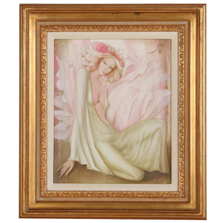 """Philippe Augé Figure Oil Painting """"Songe d'un Jour de Printemps"""""""