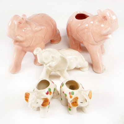 Glazed Ceramic Elephant Figurines and Planters, Mid to Late 20th Century