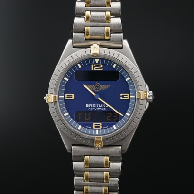 Breitling Aerospace Titanium and Gold Tone Multi function Quartz Wristwatch