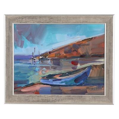 """Jose Trujillo Oil Painting """"On the Shore"""", 2020"""
