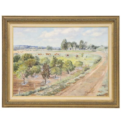 Frances Bell Oil Painting of Pastoral Scene with Cattle