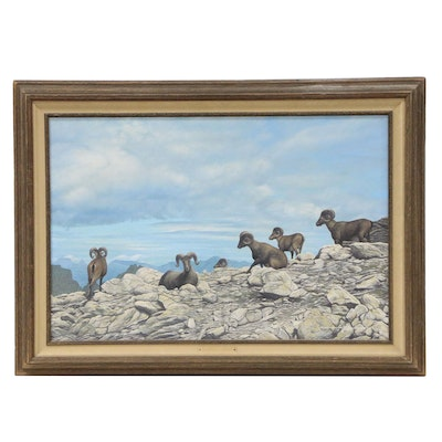 "Davie Yazzie Oil Painting ""Bighorn's Lookout"""