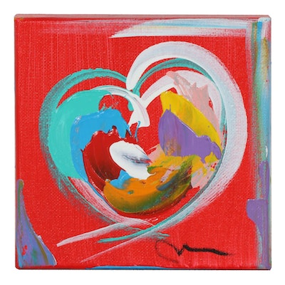Mac Worthington Abstract Heart Acrylic Painting