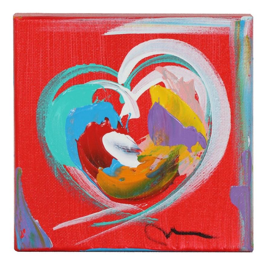Mac Worthington Abstract Heart Acrylic Painting