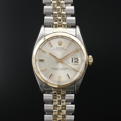 1966 Rolex Date 14K and Stainless Steel Automatic Wristwatch