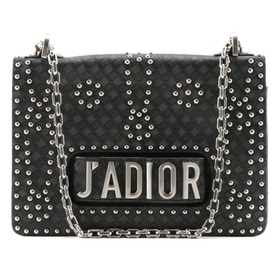 Christian Dior J'Adior Studded Debossed and Studded Leather Flap Bag