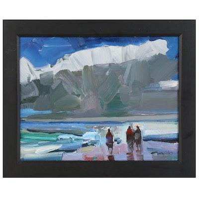 "Jose Trujillo Oil Painting ""At the Beach"", 2020"