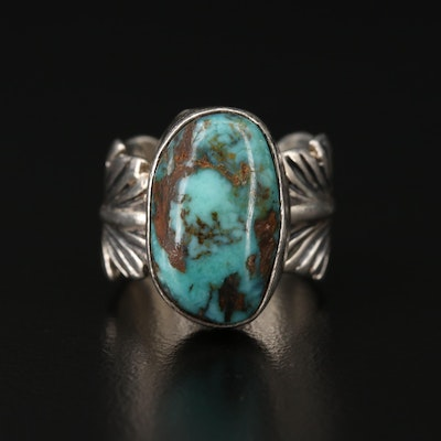 Robert Kelly Sterling Silver Turquoise Feather Motif Ring