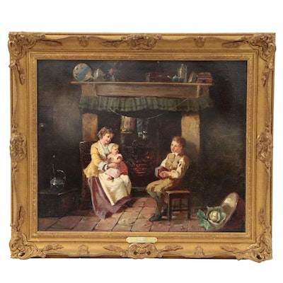 Kate Gray Genre Scene Oil Painting of Figures Sitting by Hearth