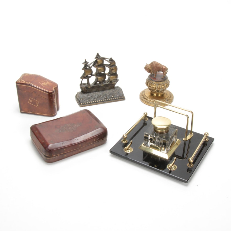 Glass and Brass Inkwell, Buffalo Paperweight and Leather Boxes, 20th C.