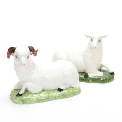 Eximious Italian Hand-Painted Porcelain Sheep and Ram Figurines