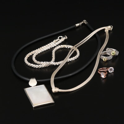 Sterling Silver Necklaces and Earrings with Mother of Pearl and Cubic Zirconia