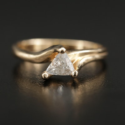 14K Gold 0.48 CT Trillion Cut Diamond Solitaire Ring