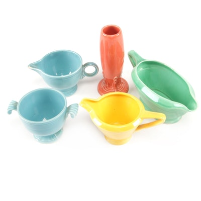 "Homer Laughlin ""Fiestaware"" Creamer, Sugar and Bud Vase with Other Serveware"