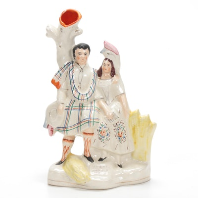 Staffordshire Porcelain Man and Woman Figural Spill Vase, 19th Century