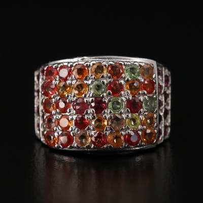Sterling Silver Sapphire and Rhodolite Garnet Ring