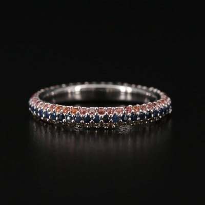 Sterling Silver Multi-Color Sapphire Eternity Band