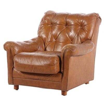 Classic Leather Tufted Lounge Chair, Late 20th Century