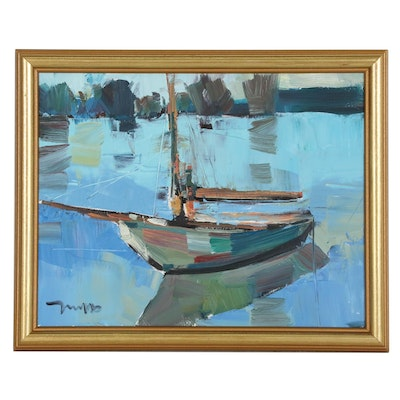"Jose Trujillo Oil Painting ""Calm Waters"""