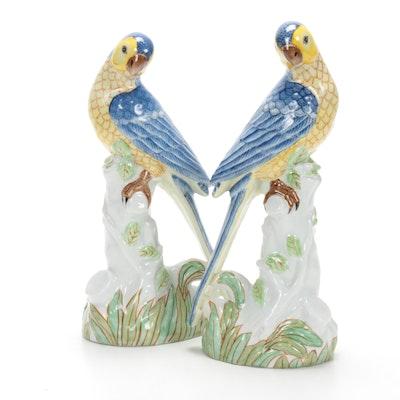 Gumps Hand-Painted Porcelain Parrot Figurines