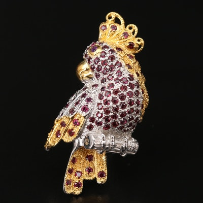 Sterling Silver Rhodolite Garnet and Amethyst Tropical Bird Converter Brooch