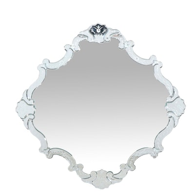 Venetian Style Etched Floral Mirror, 20th Century