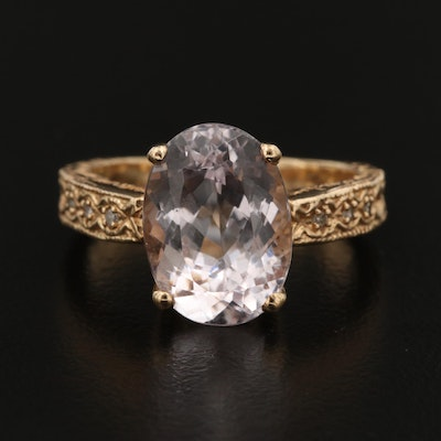 10K Yellow Gold 7.00 CT Kunzite and Diamond Ring