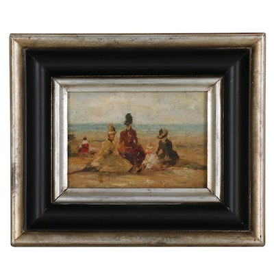 "Oil Painting after Eugène Boudin ""On the Beach"""