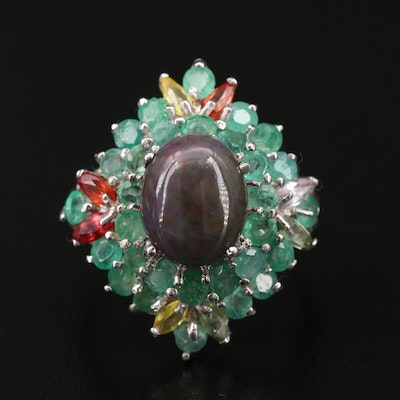 Sterling Silver Opal, Emerald, and Sapphire Ring