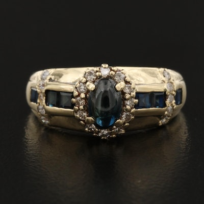 14K Sapphire, Diamond and Cubic Zirconia Ring