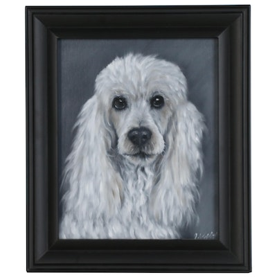 Joseph Veillette Portrait Oil Painting of Poodle