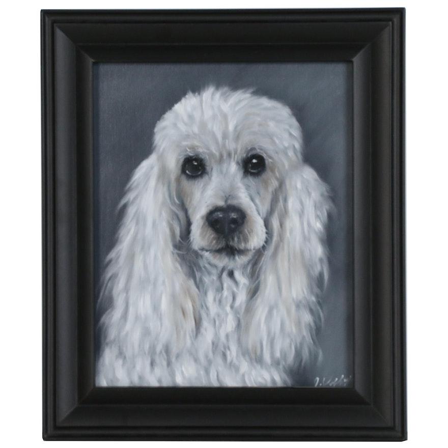 Joseph Veillette Portrait Oil Painting of Poodle