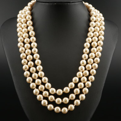 Faux Pearl and Rhinestone Three Strand Necklace with Sterling Clasp