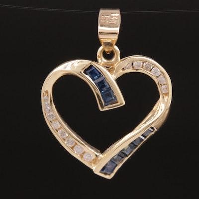 14K Sapphire and Diamond Ribbon Heart Pendant