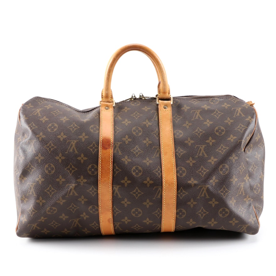 Louis Vuitton Keepall 45 Travel Duffel in Monogram Canvas and Leather