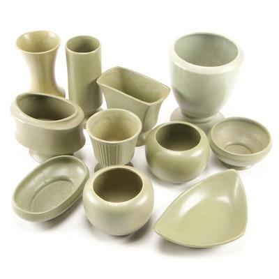 "McCoy Pottery ""Floraline"" Matte Green Ceramic Vases, Planters, and Trinket Dish"