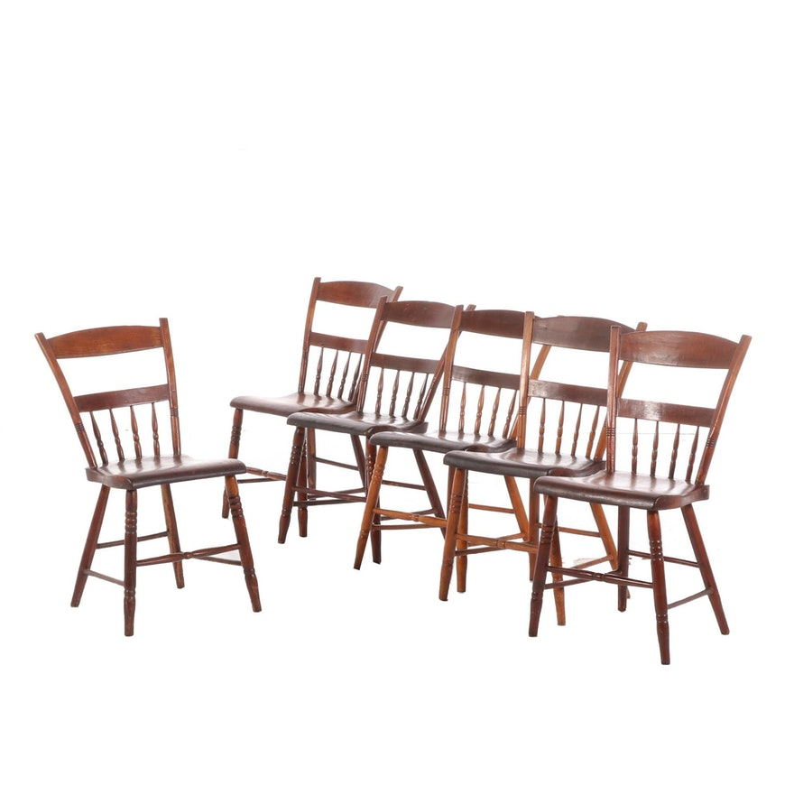 Six American Primitive Half-Spindle, Plank-Bottom Side Chairs, 19th Century
