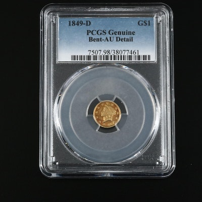 Key Date PCGS Graded Genuine AU Details 1849-D Liberty Head Type I Gold Dollar