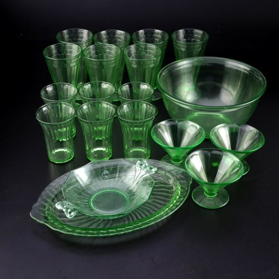 Federal, Anchor Hocking, and Other Green Depression Glass Tableware