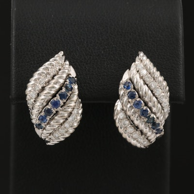 14K Diamond and Sapphire Earrings