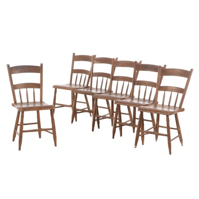 Six American Primitive Painted Half-Spindle Side Chairs, 19th Century