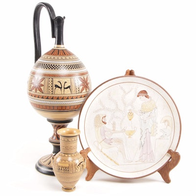 Greek Reproductions of Dipylon Amphora and Geometric Period with Plaque