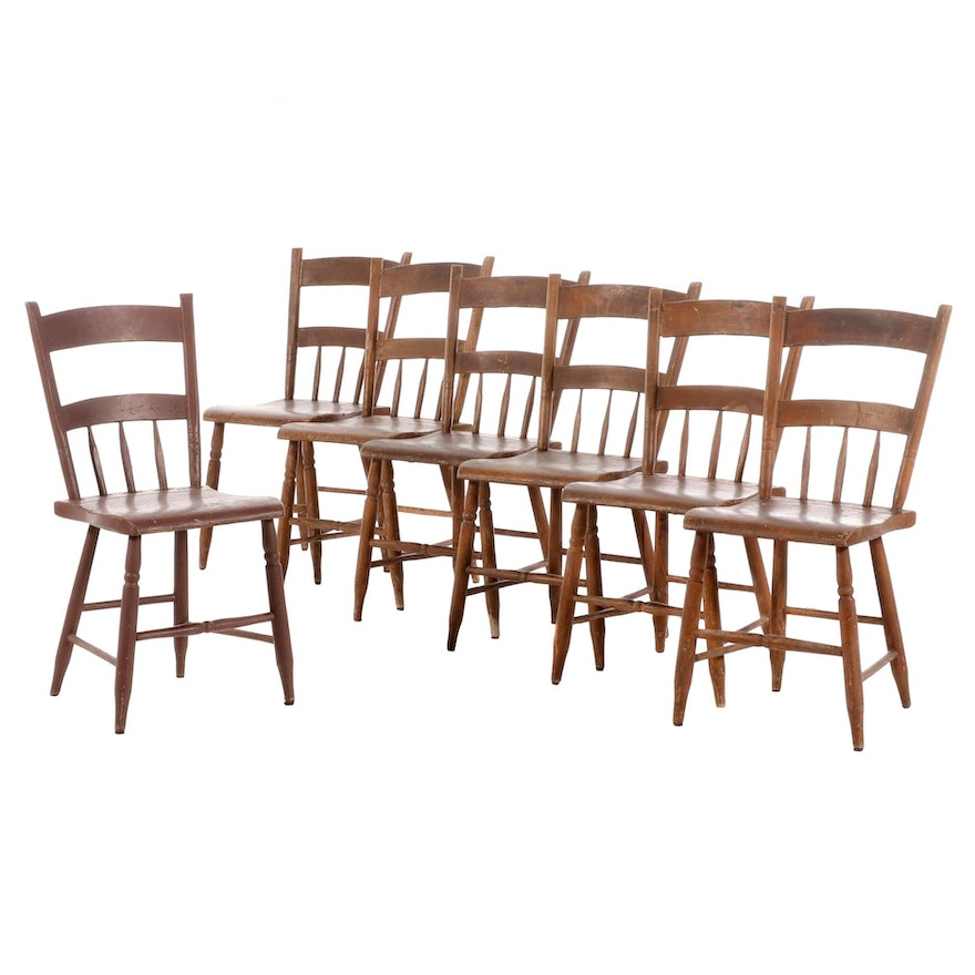 Seven American Primitive Painted Half-Spindle Side Chairs, 19th Century