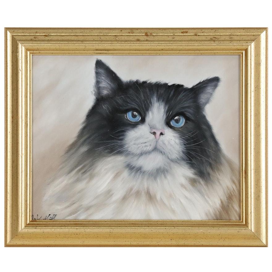 Joseph Veillette Portrait Oil Painting of Cat